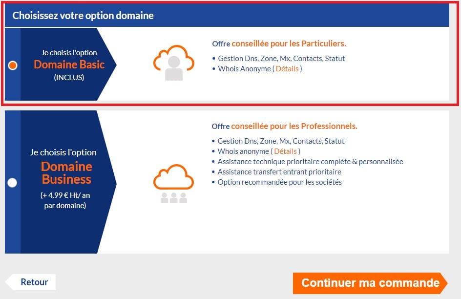 Choisissez l'option pour votre nom de domaine. Cela va permettre d'ajouter des fonctions supplémentaires.